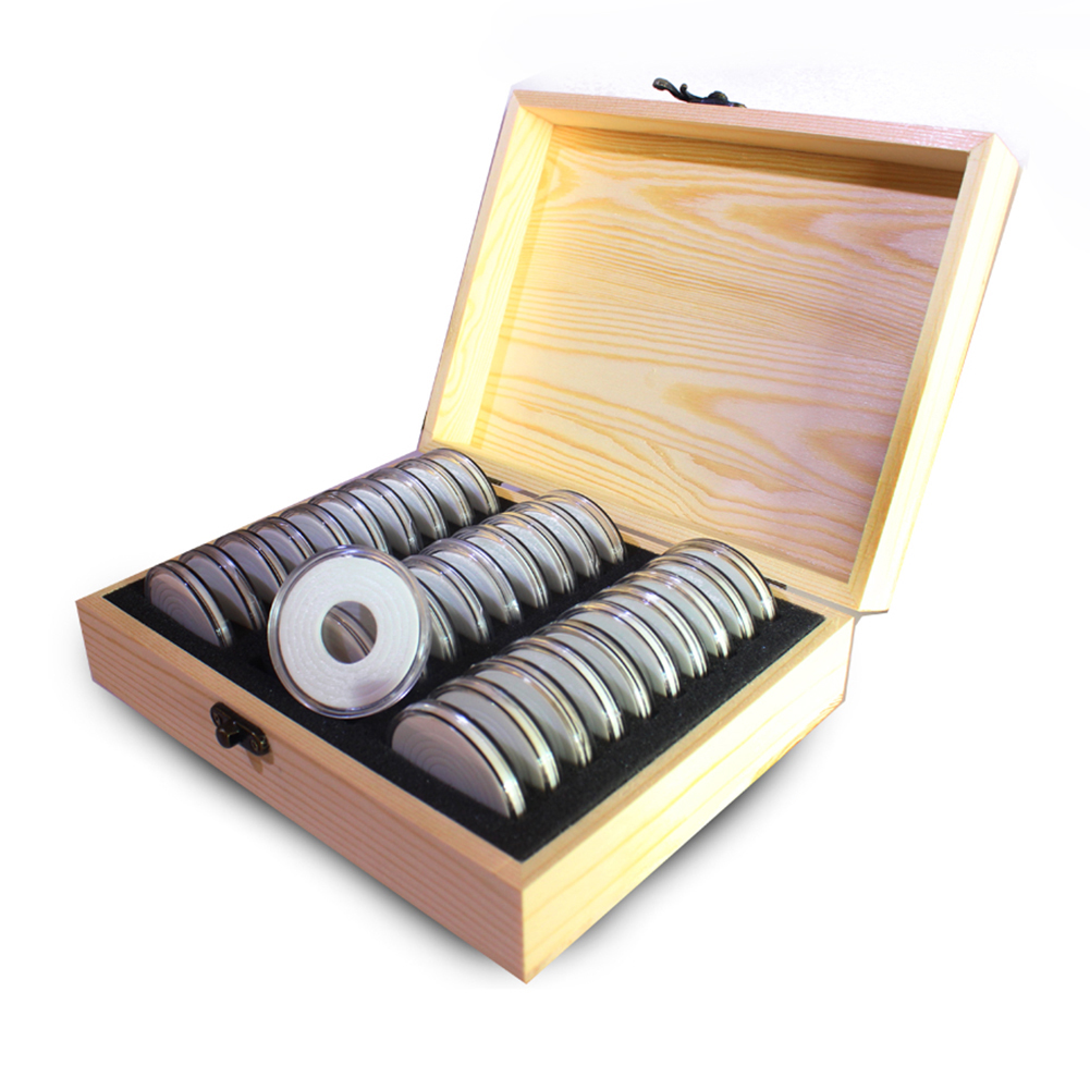 30 Grid Commemorative Coin Collection Wooden Box Coin Storage Box Collection Box 20/25/30/35/40mm Universal