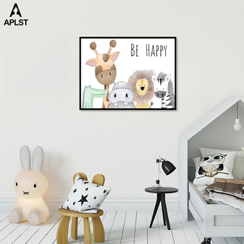 Be Happy Nursery Room Prints Painting On Canvas Animals Hippo Giraffe Monkey Lion Poster Picture Home Decor for Kids Baby Room 2