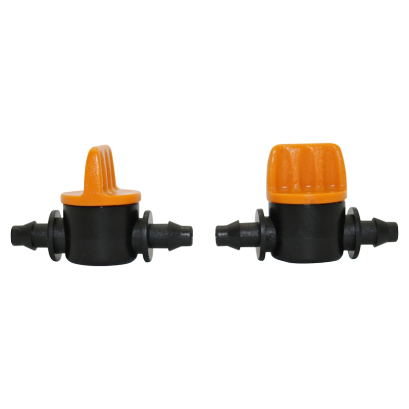 New Mini Valve With 4/7Mm Hose Garden Irrigation Barbed Water Flow Control Valve Agriculture Tools Drip Irrigation Fittings 10 P