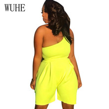 WUHE Sexy Unilateral Sloping Shoulder Solid Jumpsuits Elegant Hollow Out Sleeveless Bodycon Bandage Short Rompers Playsuits