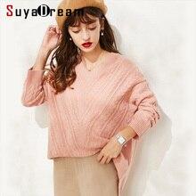 SuyaDream Bat Sleeved V neck RIB Pullovers 100%Wool Women wool Sweaters 2019 Autumn Winter Knitwear v neck high low ombre knitwear