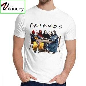 Лучшая футболка Стивен Кинг с героями ужасов, друзья, модная футболка с круглым вырезом и изображением Человека на заказ, хлопковая Футболк...