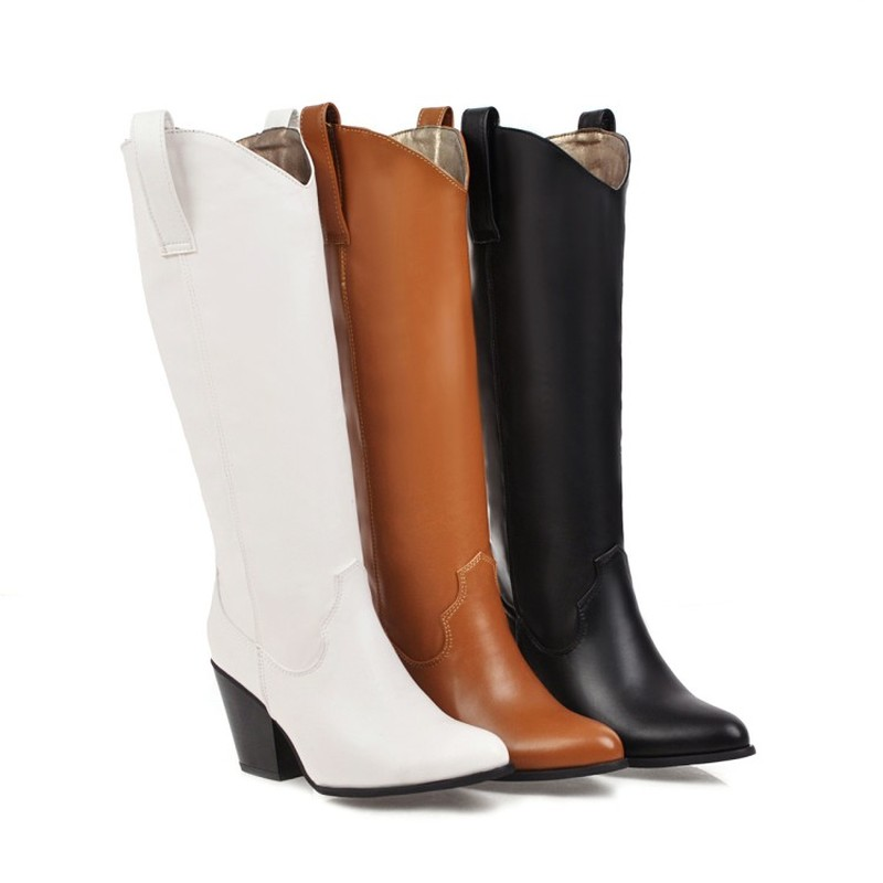 Black Brown White Knee High Boots