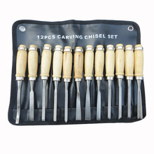 12Pcs Wood Carving Hand Chisel Tool Kit Set Wood working Professional Gouges Chisel DIY Detailed Hand Tools 2019 1 25mm 65 manganese steel wood working tool flat spade chisel wood chisel x 1