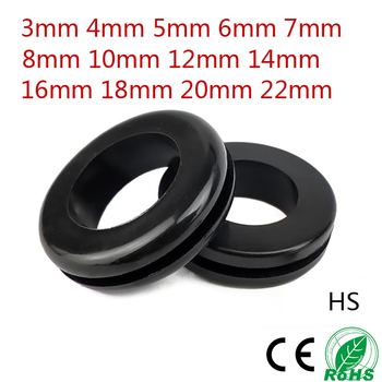 цена на 10PCS 3/4/6/8/10MM  Wire Rubber Grommets Ring External Circlip For Protects Wire Cable Hose Custom Part Double Sided Armature