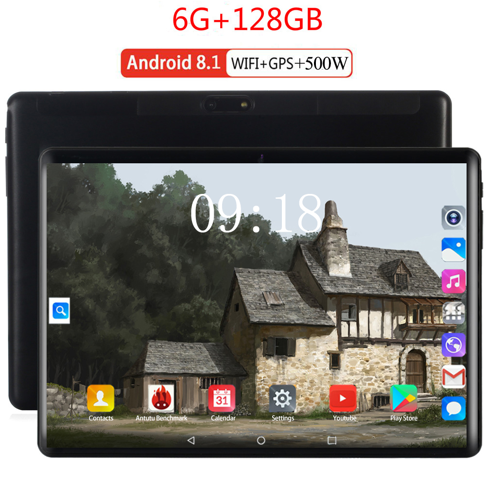 6000mAH 10 Inch Tablets Android 9.0 MTK8752 Octa Core Ram 6GB ROM 128GB Dual SIM Camera Tablet PC Wifi GPS Bluetooth Phone 10.1