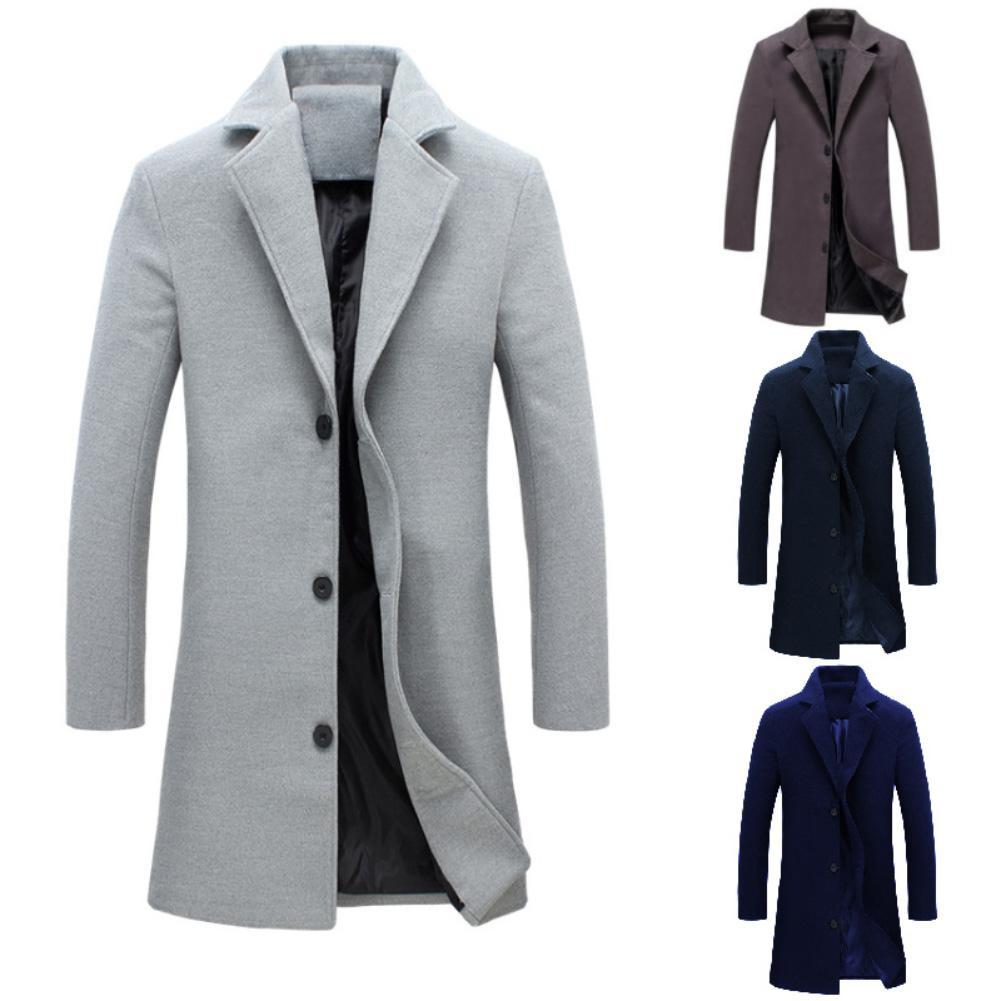 Fashion Men Winter Solid Color Long Woolen Coat Single Breasted Jacket Warm Overcoat