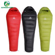 Ultralekki zimowy śpiwór termiczny typu #8222 mumia #8221 dla dorosłych 95 biały gęsi puch z torbą do plecaka na biwak i piesze wycieczki tanie tanio [0℃ ~-10℃] Łączenie podwójne śpiwór Wydłużony (1 8 m-2 m wysokości) Winter 210cm*80cm*50cm Zimnej pogody Zima śpiwór