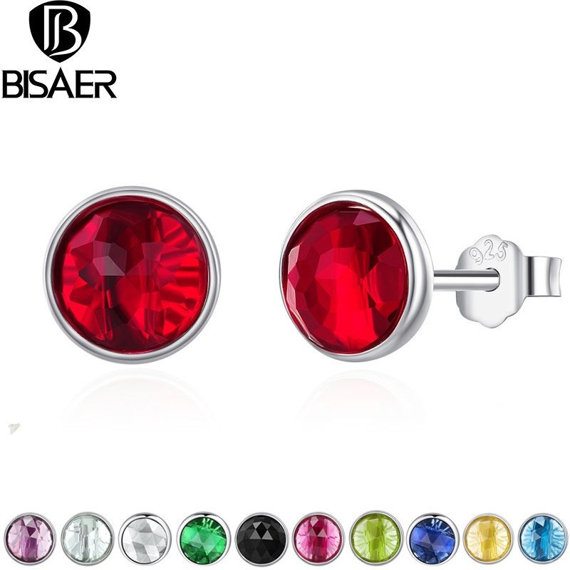 Stud-Earring 925-Sterling-Silver BISAER 925-Jewelry-Gift Dazzling Kids Women Round White