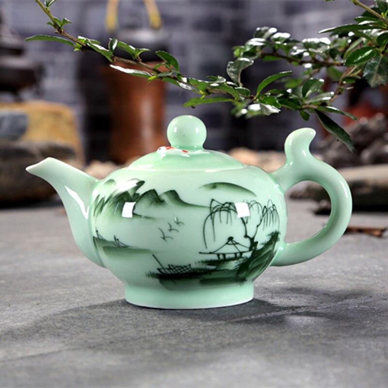 Longquan Celadon Tea set Teapot 220Ml Porcelain Tea Cup KungFu Tea Set Hand Painted Teapot Puer Oolong Tea Pot Set Gift|Teaware Sets| |  - title=