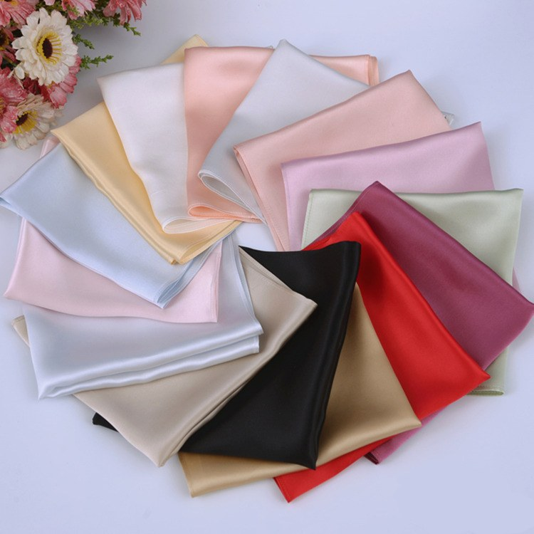 100% Pure Silk 16.5 Mm Satin Silk Square Handkerchief Men's Pocket Hanky 33cm 13