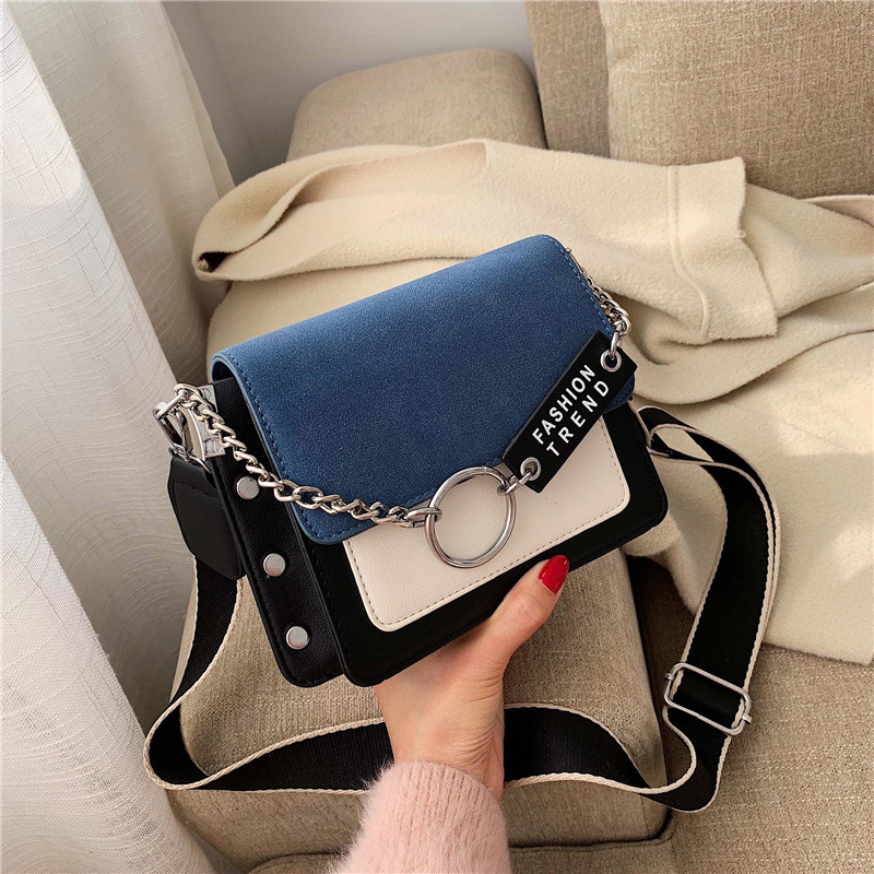 Scrub Leather Contrast Color Crossbody Bags For Women Mini Shoulder Messenger Bag Female Travel Chain Handbags