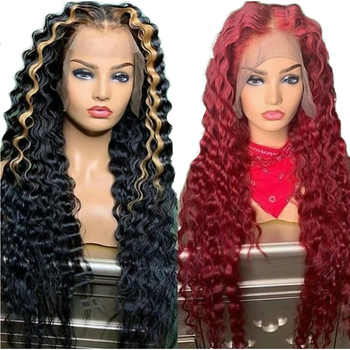 Red Deep Wave Full Lace wigWith Baby Hair Glueless Remy Brazilian Ombre highlight Blonde 360 13x6 13X4 Lace Front Human Hair wig