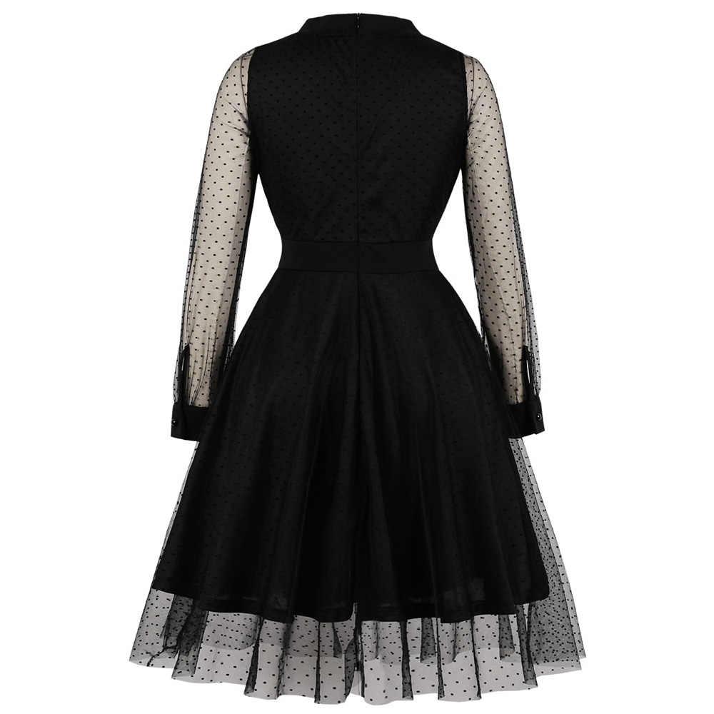 Joieles, черное Сетчатое кружевное женское вечернее платье, элегантный стиль, v-образный вырез, длинные рукава, высокая талия, ретро платье, осенние женские винтажные платья