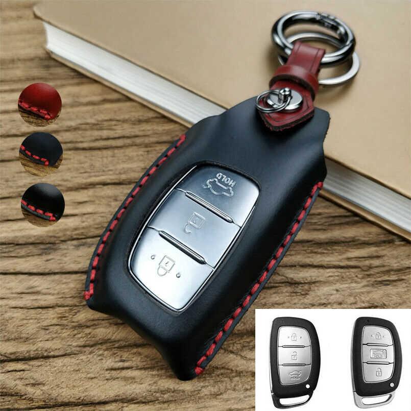 Genuine Leather Cowhide Car Smart Key Holder Keychain Ring Case Bag For Hyundai
