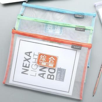 Moda grube przedmiotów biznesowych biuro organizator teczki A4 przezroczysty zamek torba folderu teczki tanie i dobre opinie BZNVN 340*235mm 335*230mm Torba na dokumenty Other AE120539
