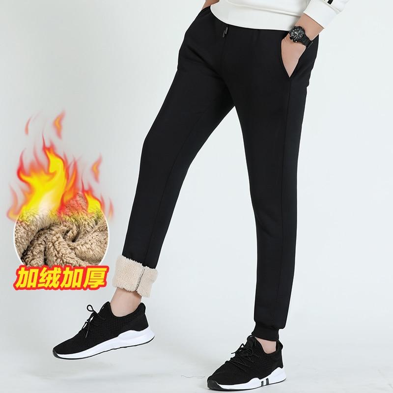 Brand Pants Men Winter Cashmere Velvet Thicken Pant Man Outwear Warm Trousers Mens Sweatpants Male New  Elastic Waist Trousers