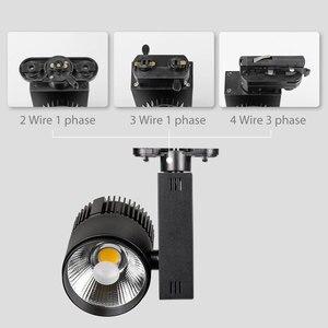 Image 3 - トラック照明レールランプスポット30ワットcob服靴ショップトラックライトledスポットライト2/3/4ワイヤー3相トラックランプ10ピース/ロット