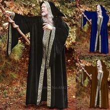 Idade média wizard fantasias cosplay para adultos halloween carnaval monge medieval do vintage desempenho palco longo robes