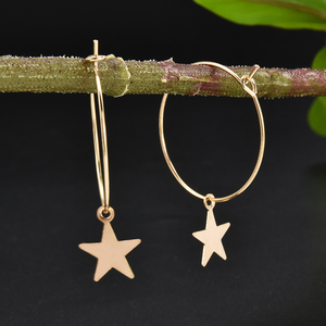 Women Bohemia Simple Large Circle Star Drop Earrings Boho Women Elegant Earring Jewelry 2020 Valentines Jewelry Gift Fashion New(China)