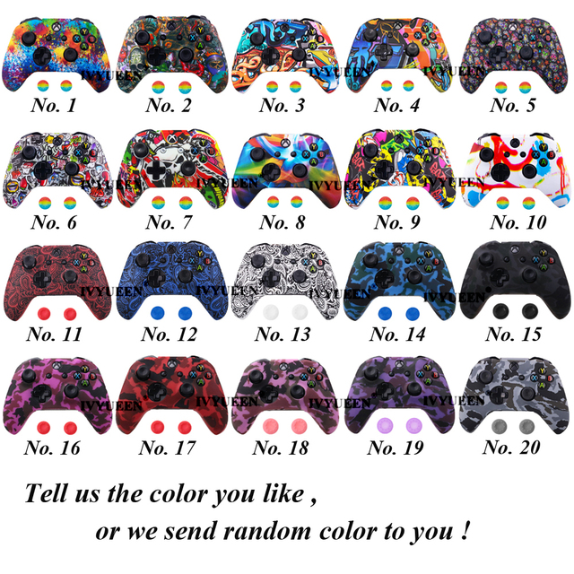 IVYUEEN Silicone Protective Skin Case for XBox One X S Controller Protector Water Transfer Printing Camouflage Cover Grips Caps 1