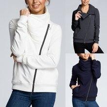 HEFLASHOR Women Turtleneck Zipper Jackets Solid Color Fashio