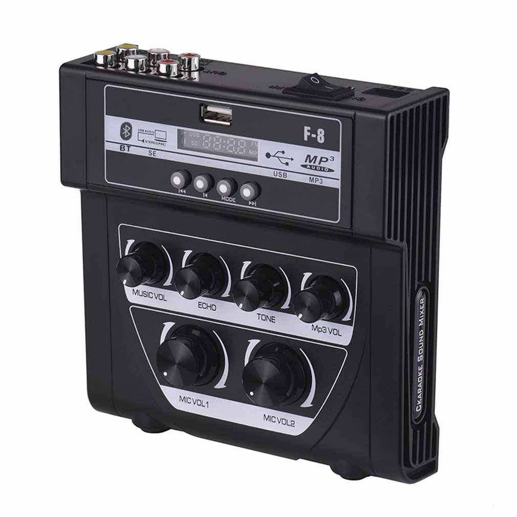 家庭用オーディオミキサーサウンドプラスチックミニカラオケマイクステレオエコーミキサーのサポート記録 Mp3 1 ピース