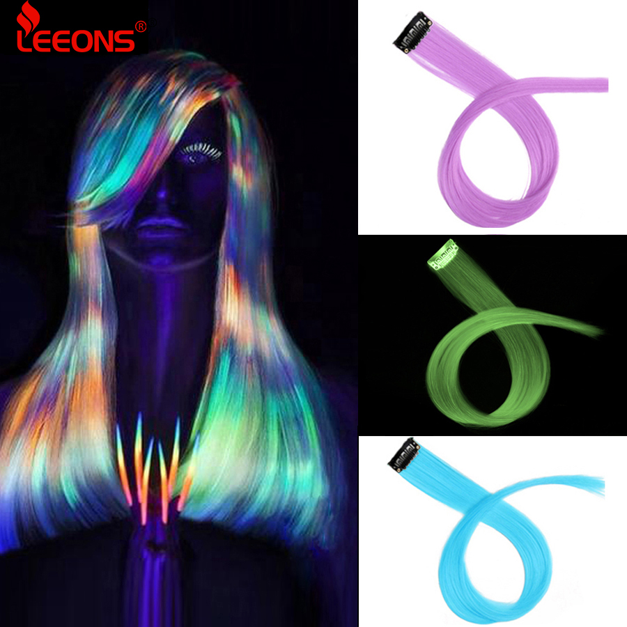 Leeons 50Cm Rainbow Colors One Clip In Hair Extensions Straight Long Synthetic For Women Hair Piece Blue Pink Purple Red 12G/Pcs