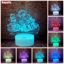 Dragon Ball Z Legends Bulma Goku Motorcycle Saiyan Action Figures Bright Crack Base RGB 7 Colors Change Night Light Child Gifts(China)