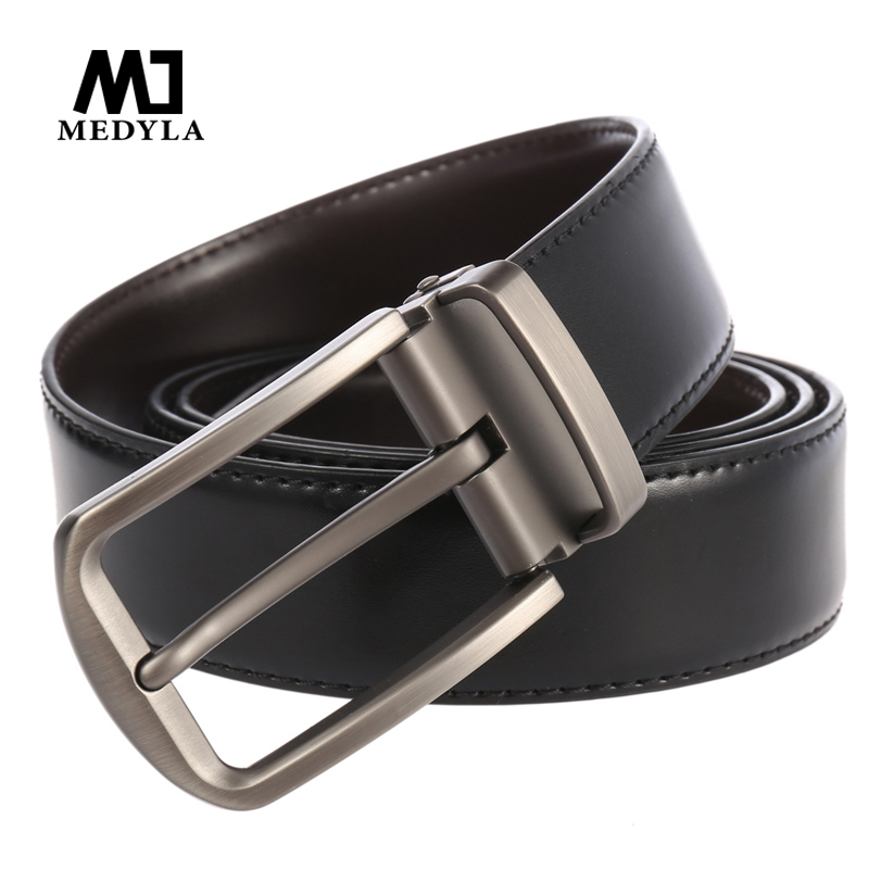 Medyla For Men New Fashion Business Casual Classice Vintage Pin Buckle Men Belt High Quality Cow Genuine Leather Strap Male Belt