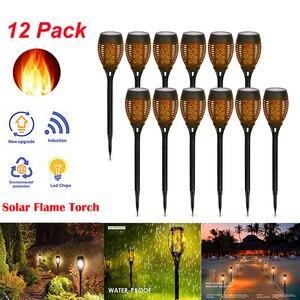 Светодиодный светильник с пламенем на солнечной батарее, мигающий водонепроницаемый светильник для украшения сада, ландшафтный светильни...
