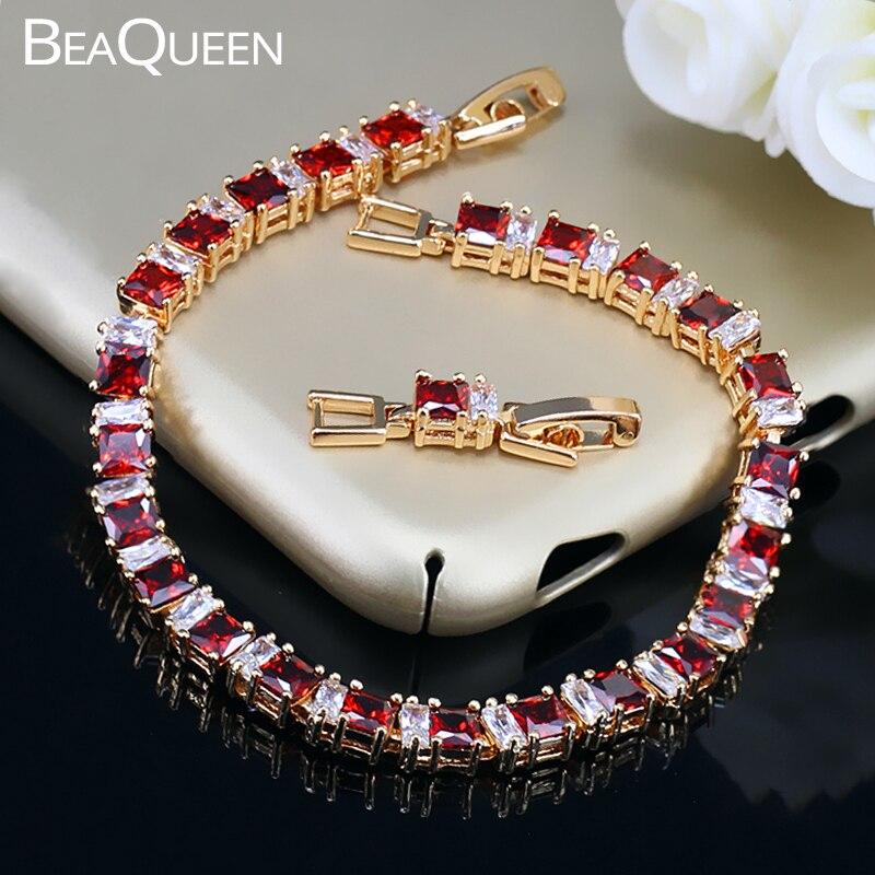 BeaQueen exquis or couleur bijoux carré CZ cristal et cubique Zircon pierre réglage indien Bracelet rouge pour les femmes B039