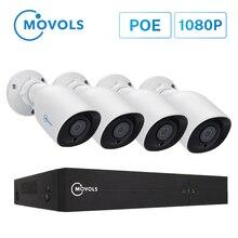 Movols 1080P POE H.265 NVR Set 4CH Sicherheit Kamera System 2.0MP IR Indoor Outdoor CCTV Kit Wasserdichte Video Überwachung system