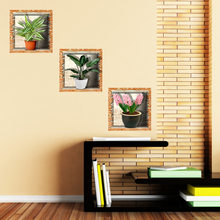 3pcs/set Creative 3D Artificial Flower Painting Stickers Home Decoration Plant Decals Adhesive Wallpaper For Dining Living Room(China)