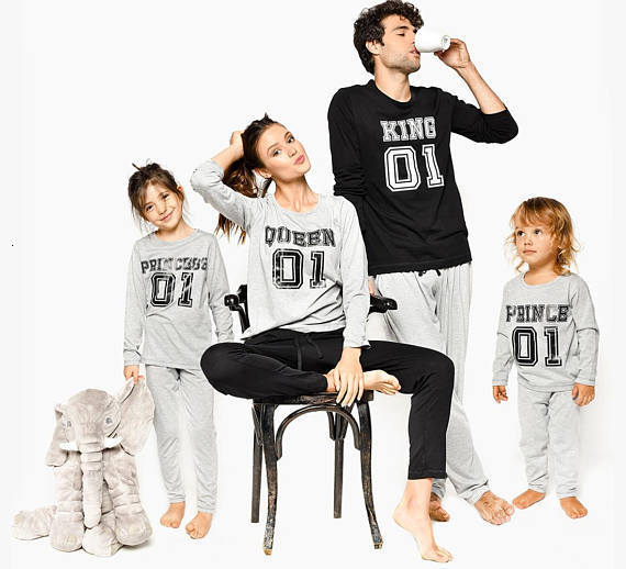 Matching Christmas Pajamas Daughter Outfits Queen Family-Look Mommy And Me King Dad YN