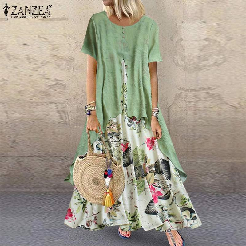 ZANZEA Summer Short Sleeve Dress Women Vintage Floral Printed Pacthwork Long Sundress Casual Retro Party Vestido Femme Dresses