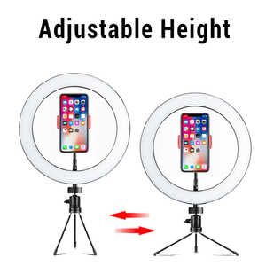 Image 3 - Photography LED Selfie Ring Light 26cm/16cm Dimmable 10inch USB Camera Phone Studio Ring Lamp With Tripods For Makeup Video Live