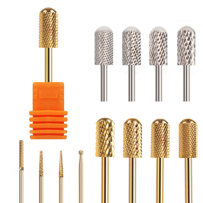 RIKONKA Golden Carbide Nail Drill Bits Manicure Machine Accessory Ceramic Milling Cutters For Manicure Electric Dill Nail Files
