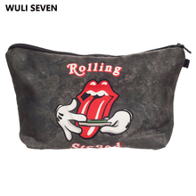 WULI SEVEN Fashion Tongue Printing Makeup Bags Travel Make Up Bag Organizer For Ladies Pouch Women Cosmetic
