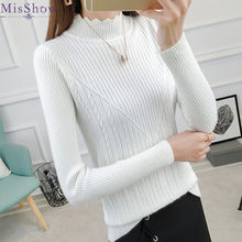 Nouveau automne hiver 2019 femmes moderne élastique Pull Triangle Jersey collier Pull Pull Femme(China)