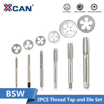 XCAN 2pcs Tap And Die Set Screw Thread Tap Drill HSS Right Hand Plug Tap Die BSW 5/32-32 3/16-24 5-16-18 1/4-20 1/2-12 5/8-11