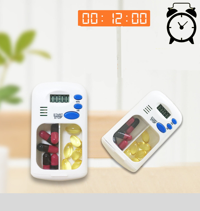 2 Grids Mini Portable Pill Reminder Drug Alarm Timer Electronic Box Organizer LED Display Alarm Clock Remind Small First Aid Kit