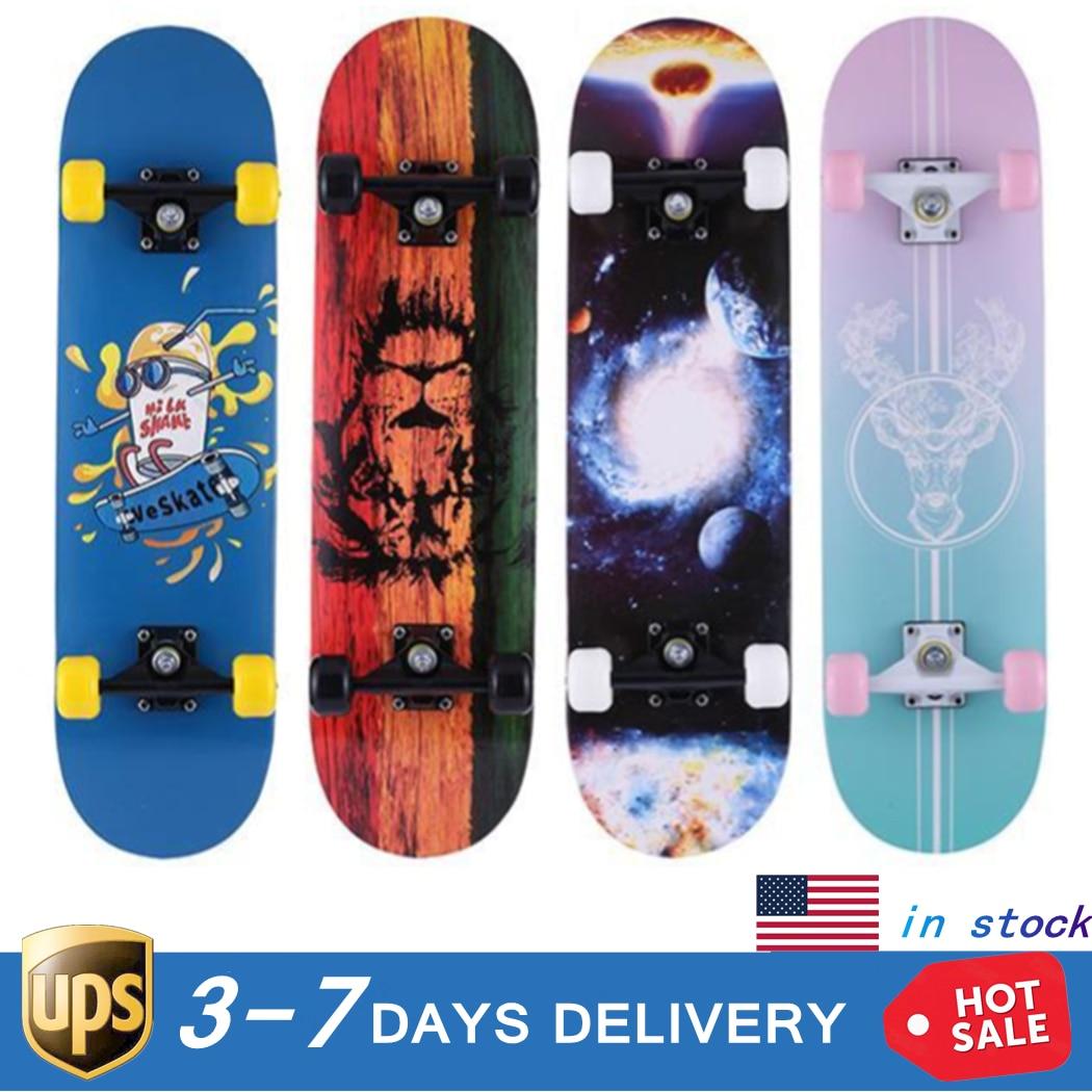Complete Skate Boards Adult Teens Girls Boys Maple Skateboard for Beginners Aluminum Alloy Anti-Slip Surface Design 1