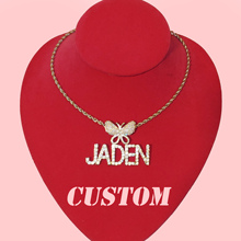 Custom Nameplate Butterfly Pendant necklace Icy Custom Letters Necklace Personalized Name Jewelry Instagram Trendy Accessories