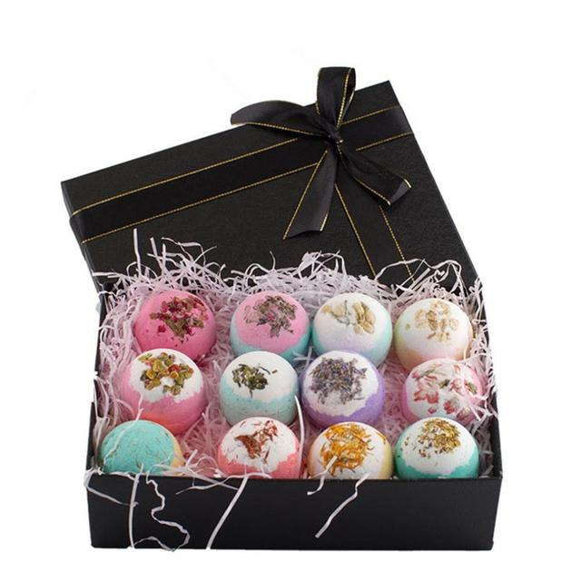 12Pcs Color Petal Series Bathing Bath Ball Set Gift Box Bathing Bubble Ball Bubble Bomb Bath Salt Set