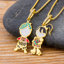 Fashion Cute Boy Girl Rhinestone Pendant Choker Necklace Family Gold Chain Necklaces Women Couple Lovers Copper CZ Jewelry Gift fashion accessories jewelry gift titanium two half heart puzzle pendant cz diamond lovers couple pendant necklace for men women