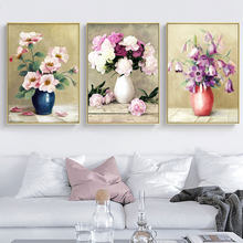 Blooming Flower Violet Canvas Painting Posters and Prints Wall Art Decoration Picture for Living Room and Bedroom Decoration