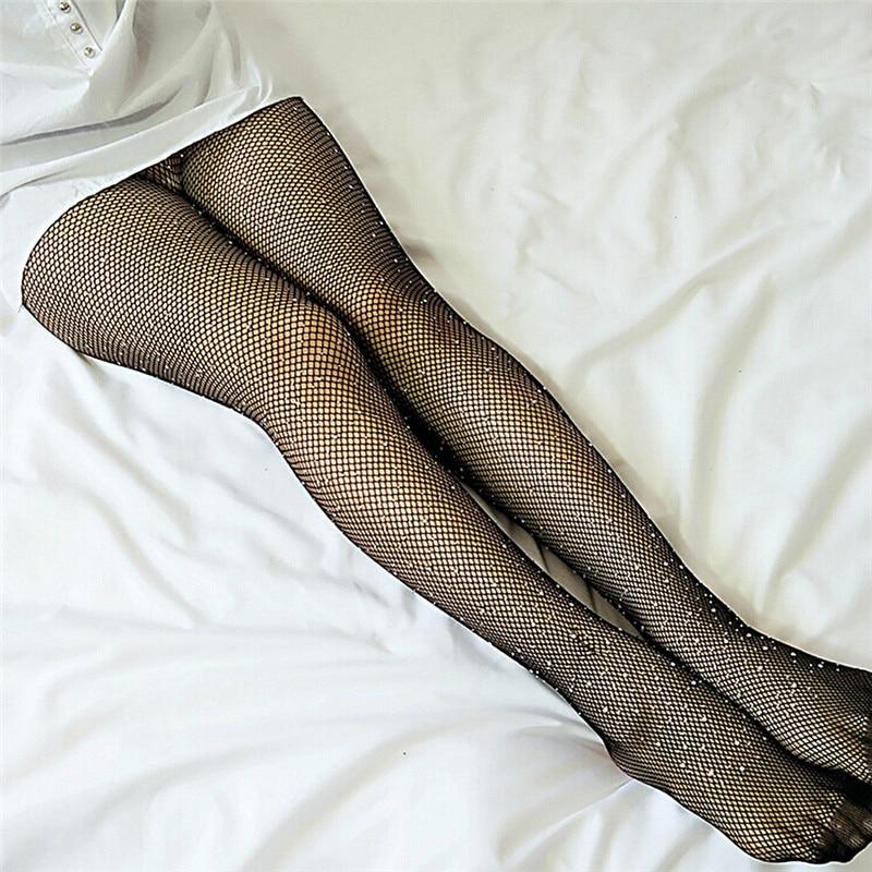 Summer Fishnet Diamond Pantyhose Women Sexy Fashion Shiny Net Tights Female Slim Rhinestone Mesh Nylon Stockings Tights