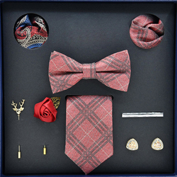 Necktie Bowtie Set High-grade Men's Formal Business Valentine's Day Father's Day Gifts Trendy 2019 Winter (8-piece Gift Box Set)