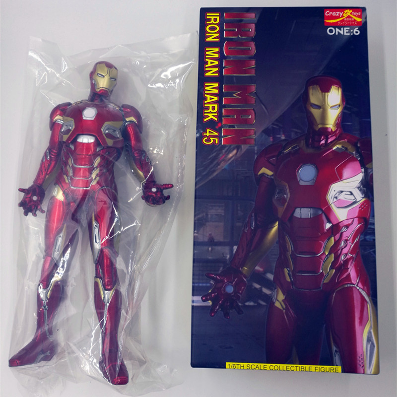 Free Shipping 1:6 Crazy Toys Marvel Avengers Iron Man Mark XLV Ironman MK45 1/6 Scale Iron Man Action Figure xmas gift B19 1